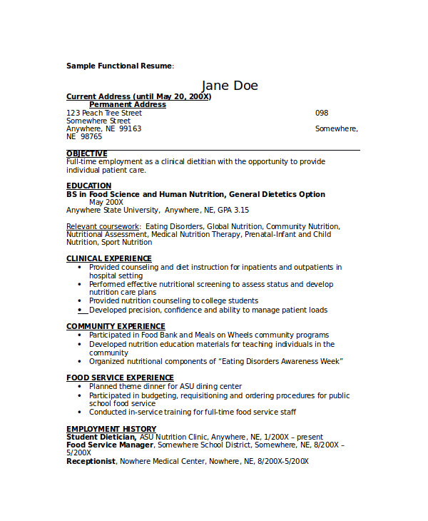 nutritional therapist cover letter
