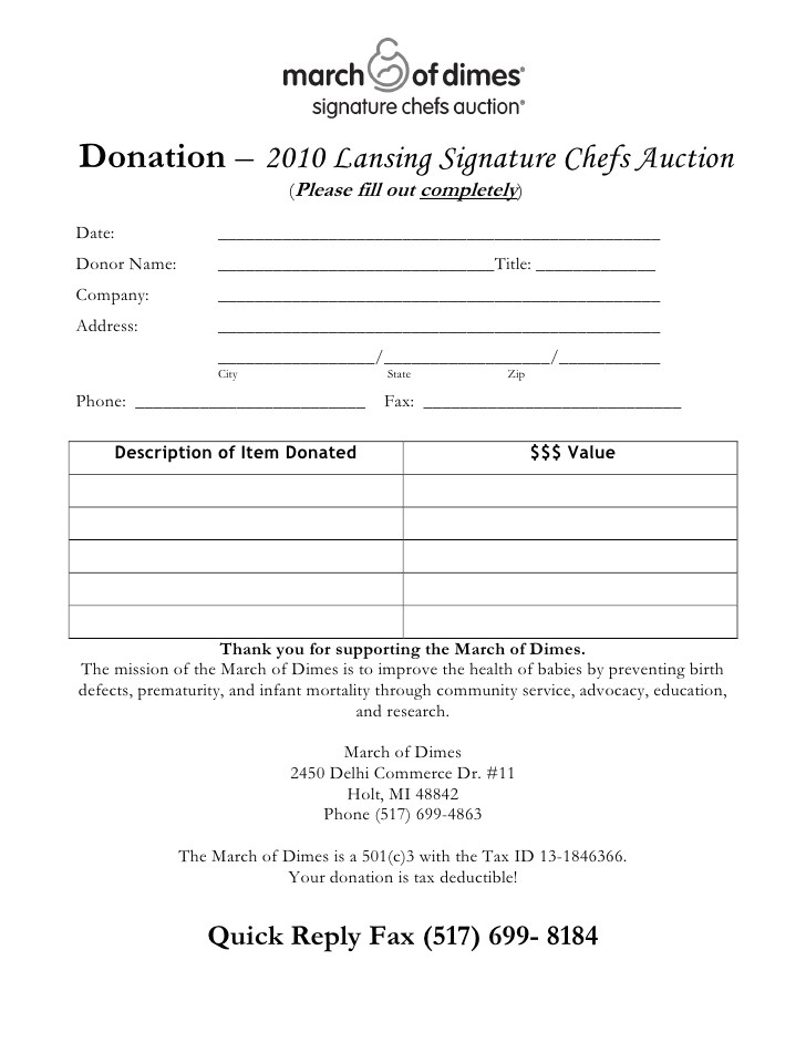 chefs auction donation form