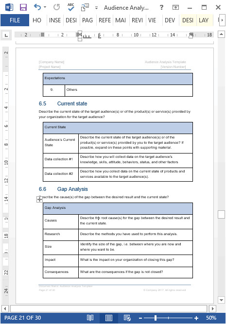 Audience Profile Template Audience Analysis Template Ms Word Excel Free Samples