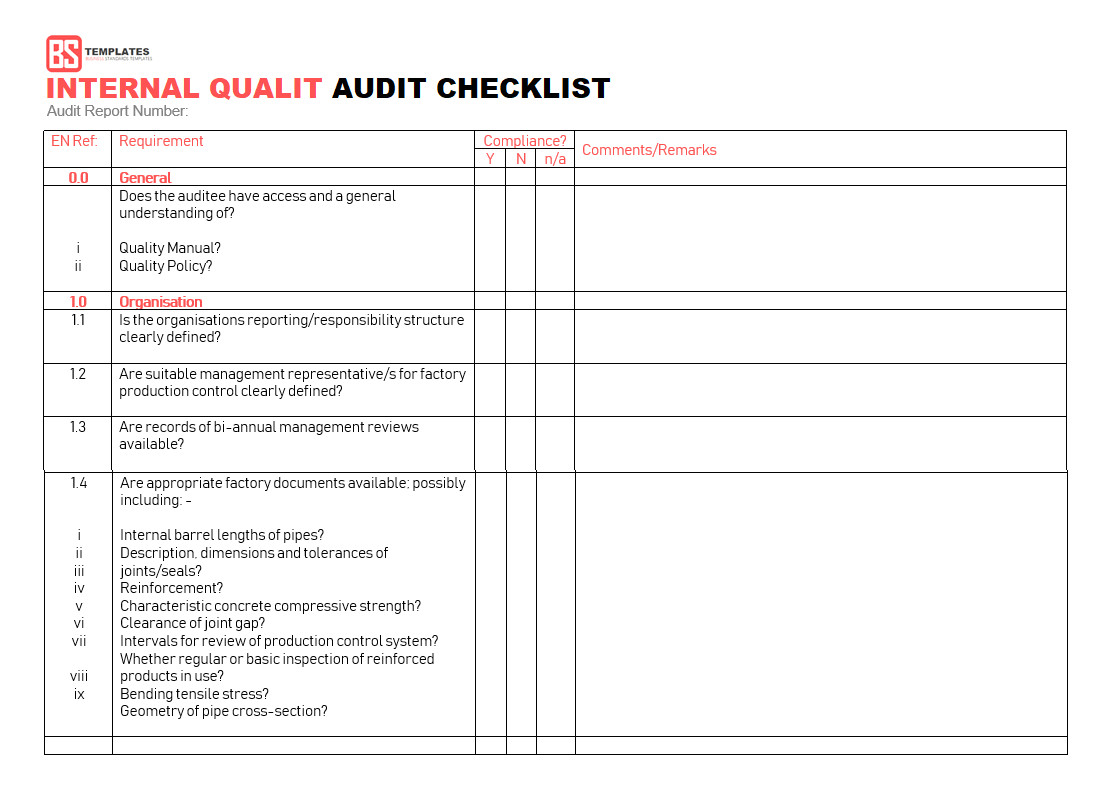 Audit Templates Checklists 15 Internal Audit Checklist Templates Samples Examples