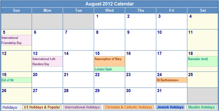 aug 2012 calendar printable