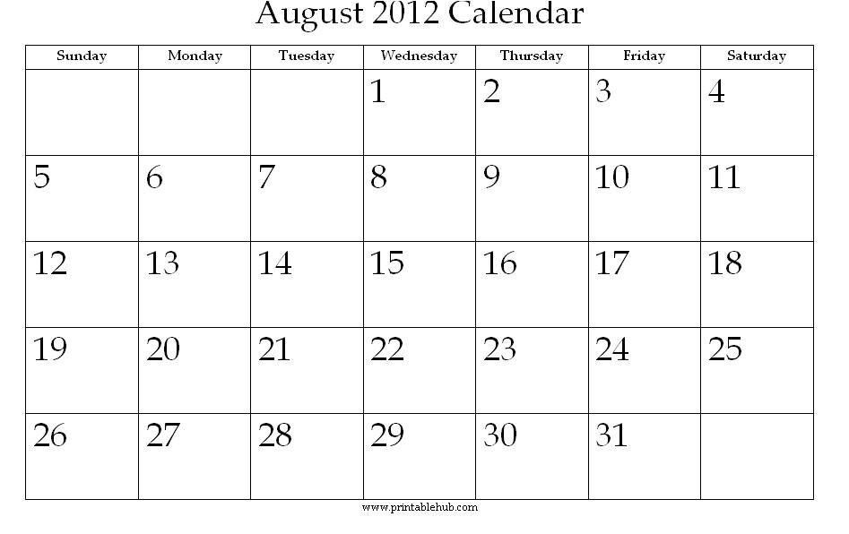 printable august calendar calendar