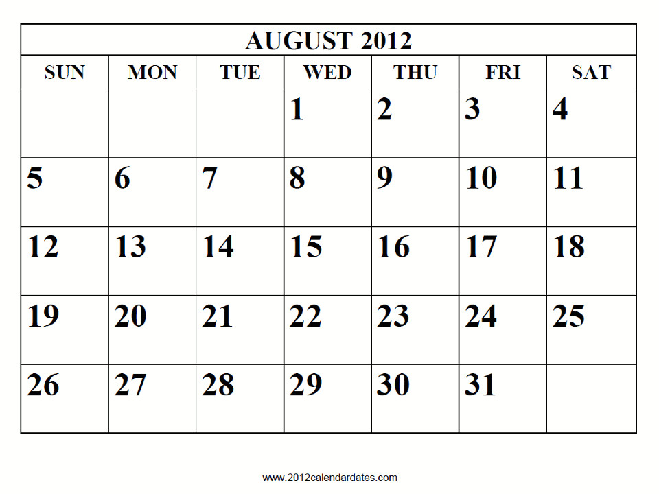 july 2012 calendar printable
