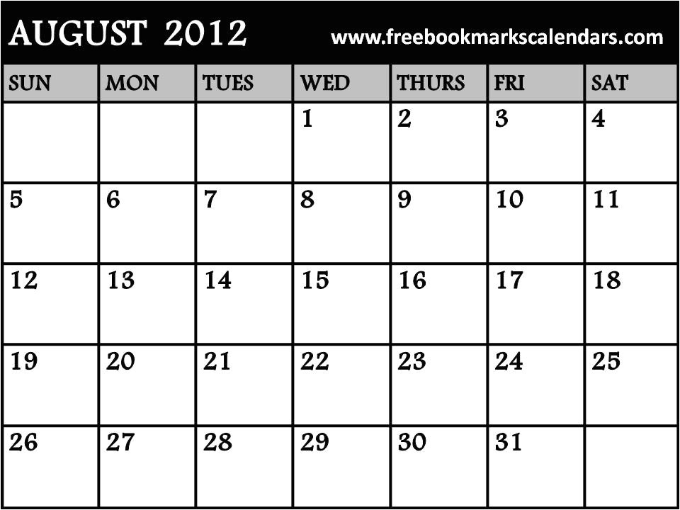 june july august 2012 blank calendar