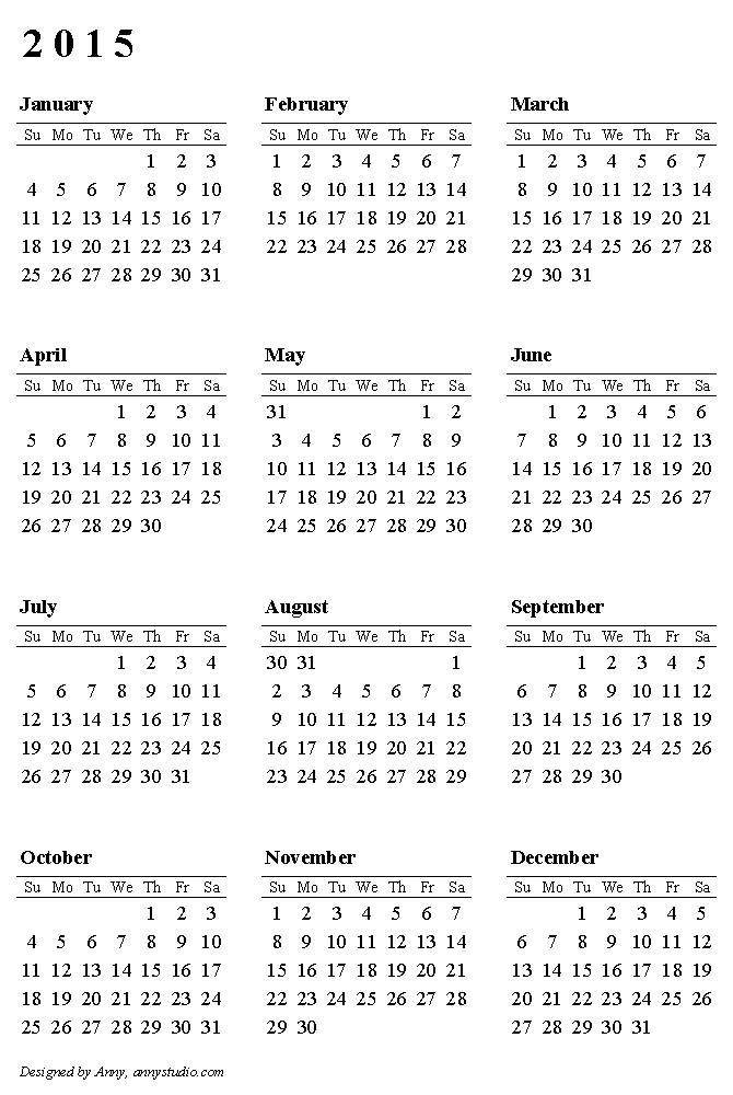 australian calendar template 2015