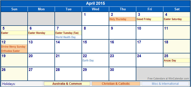 printable calendar april 2015