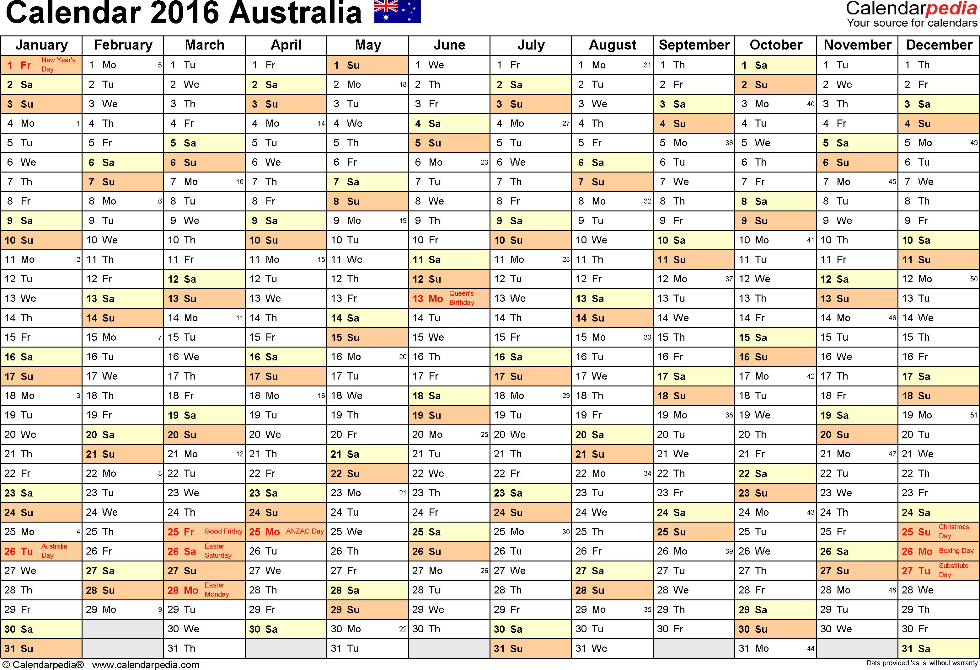 australia calendar 2016 excel templates