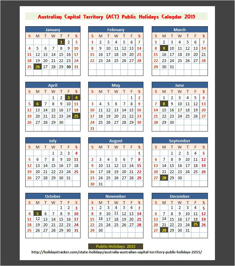 australian calendar 2015