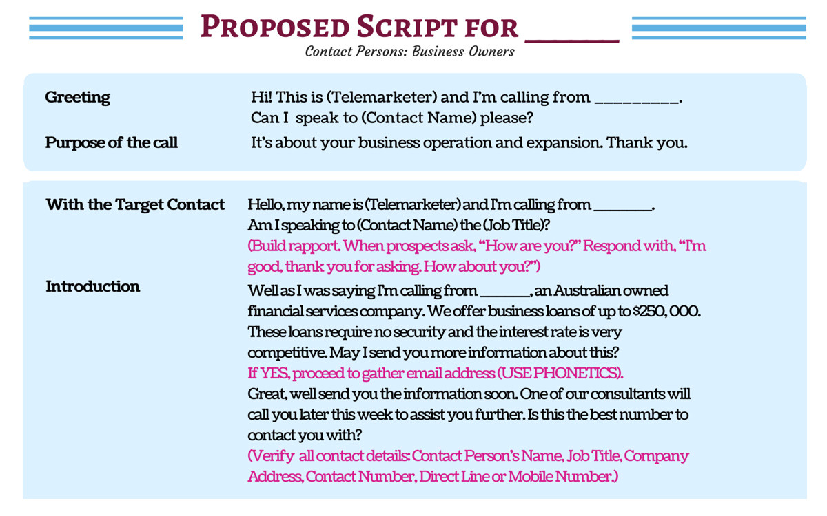 b2b telemarketing script template