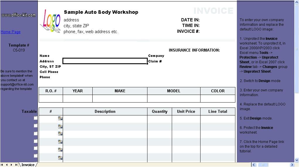 auto body receipt template