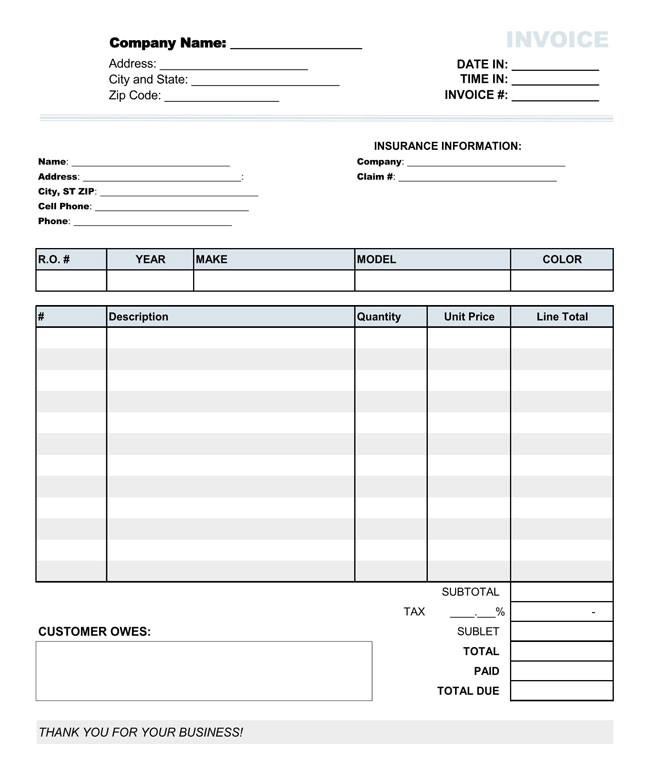 auto repair invoice templates