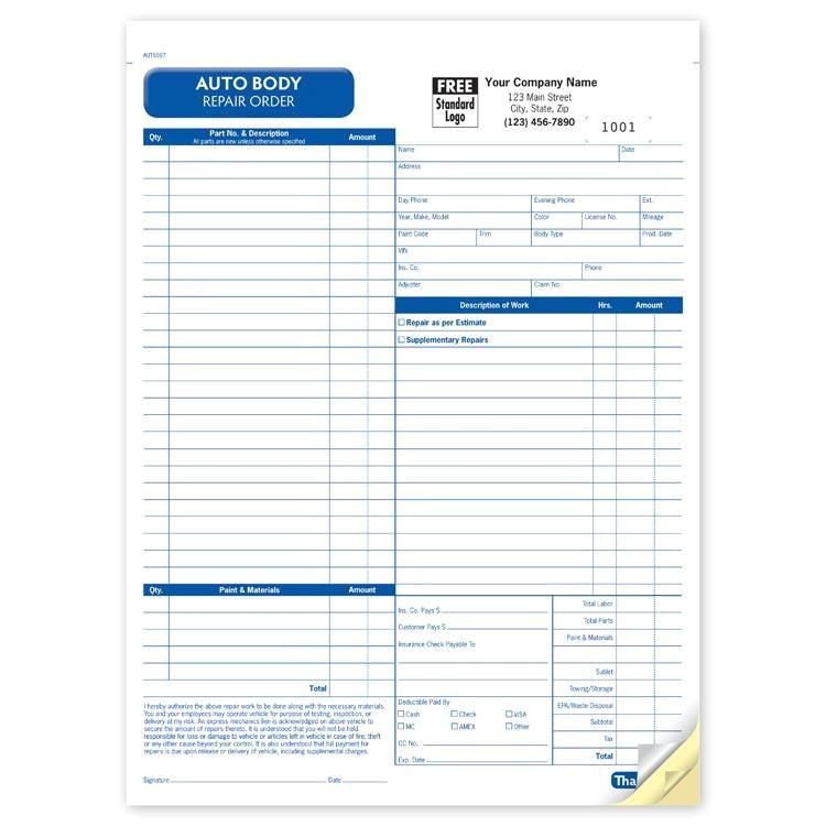 87 automotive repair invoice