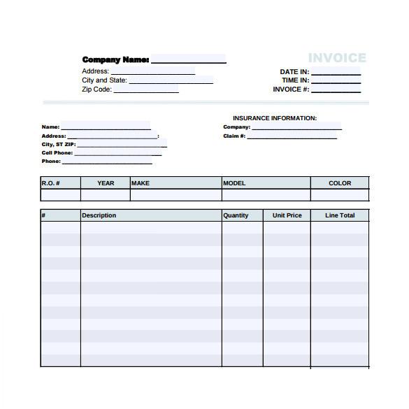 blank auto repair invoice