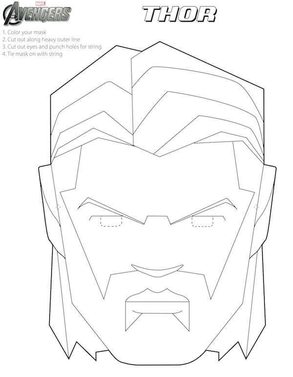 avengers free printable coloring masks