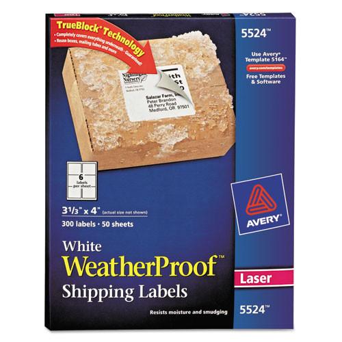 p white weatherproof laser shipping labels 3 13 x 4 300pack ave5524 cm sp deals dl deals ave5524 cm vc dl deals