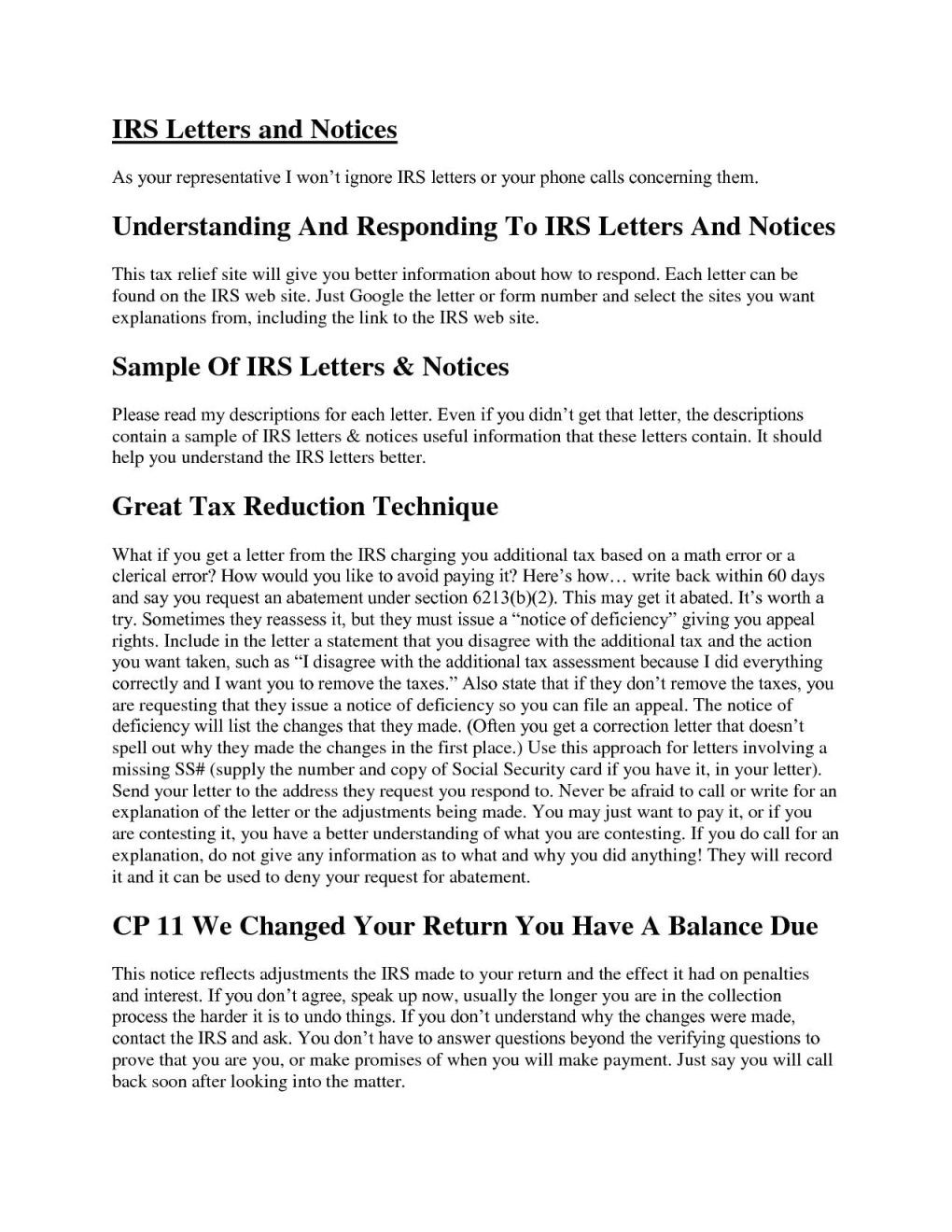 sample response letter to irs notice4