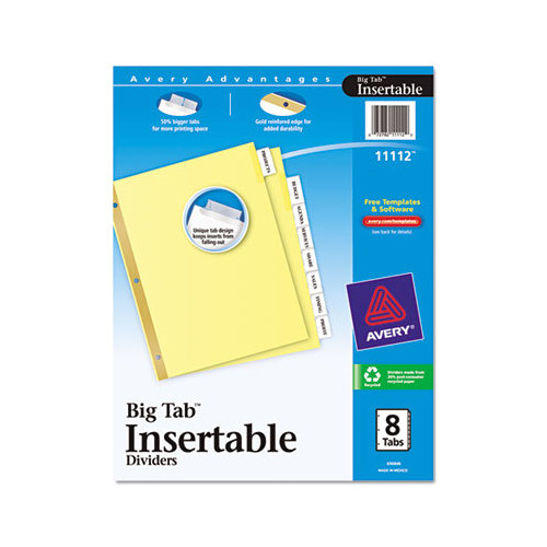 Avery Big Tab Inserts for Dividers 8 Tab Template Avery Insertable Big Tab Dividers Ave11112 Shoplet Com