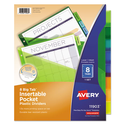Avery Big Tab Inserts for Dividers 8 Tab Template Avery Insertable Big Tab Plastic Dividers W Single