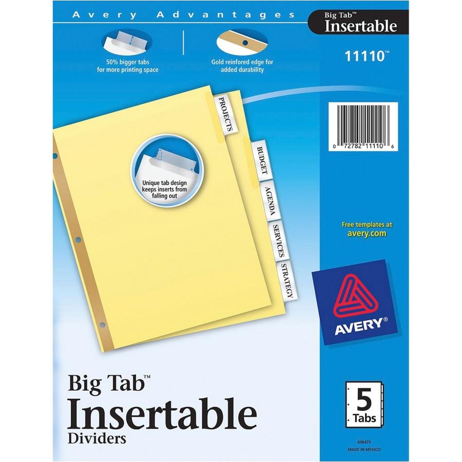 avery worksaver big tab insertable divider ave11110 bulk