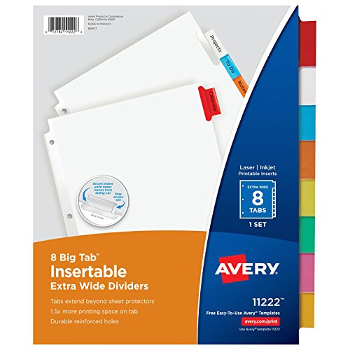 avery big tab insertable extra wide dividers 8 multicolor tabs 1 set 11222