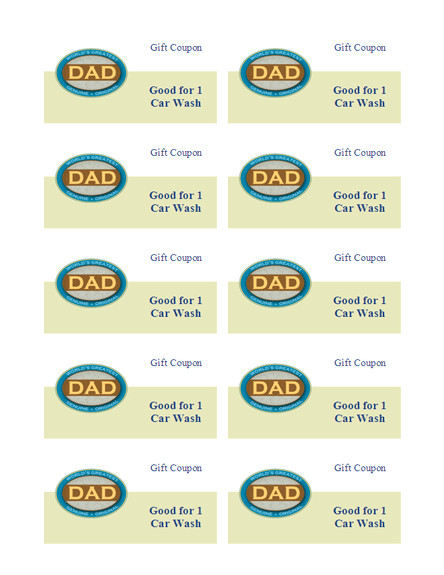 fathers day gift coupons 10sheet works w 249