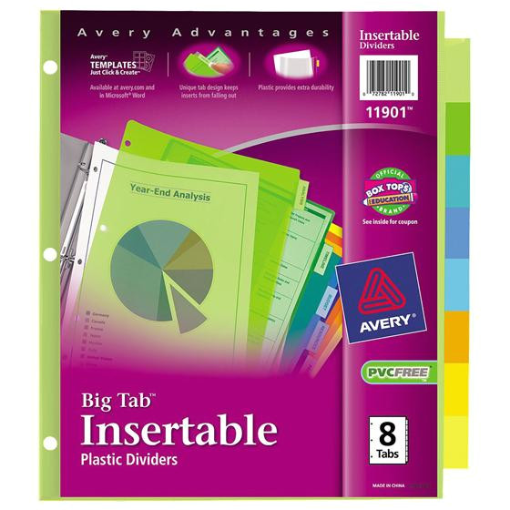 Avery Template 11901 Avery 11901 Big Tab Plastic Insertable Divider 8 Tab Set