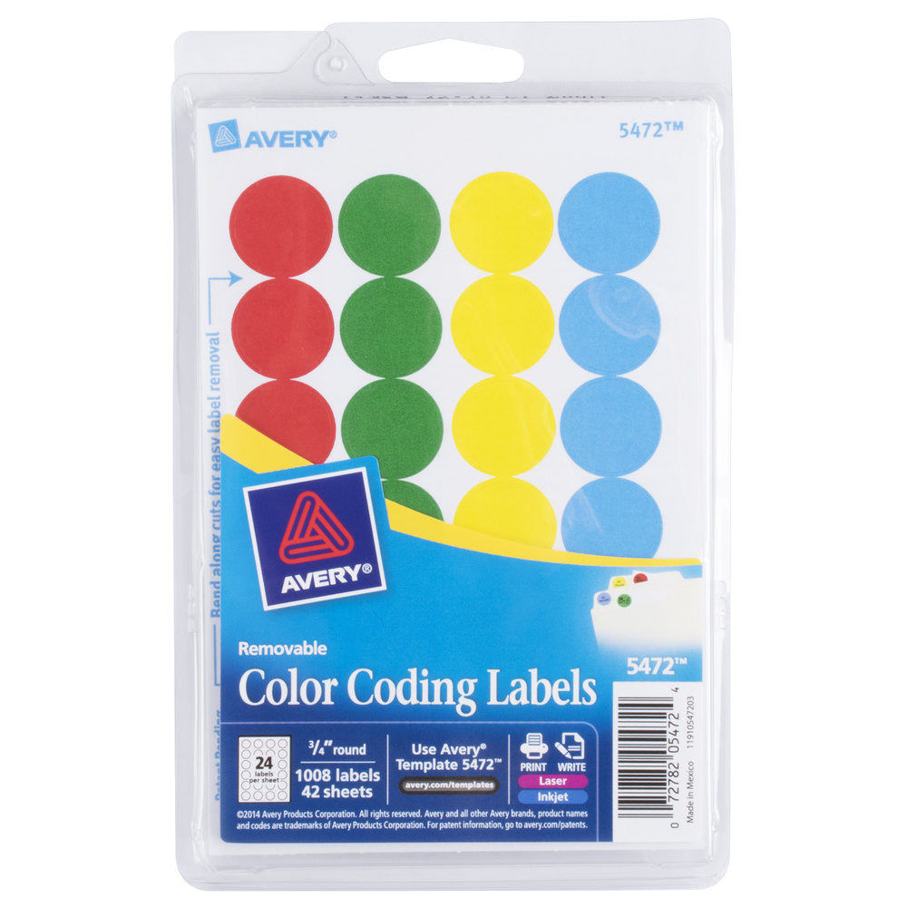 Avery Template 5472 Avery 5472 3 4 Quot assorted Colors Round Removable Write On