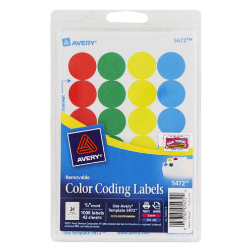Avery Template 5472 Avery Removable Color Coding Labels 3 4 Quot Round assorted