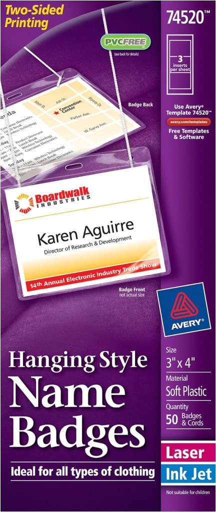 Avery Template 74520 Avery Hanging Name Badges top Loading 74520 Avery