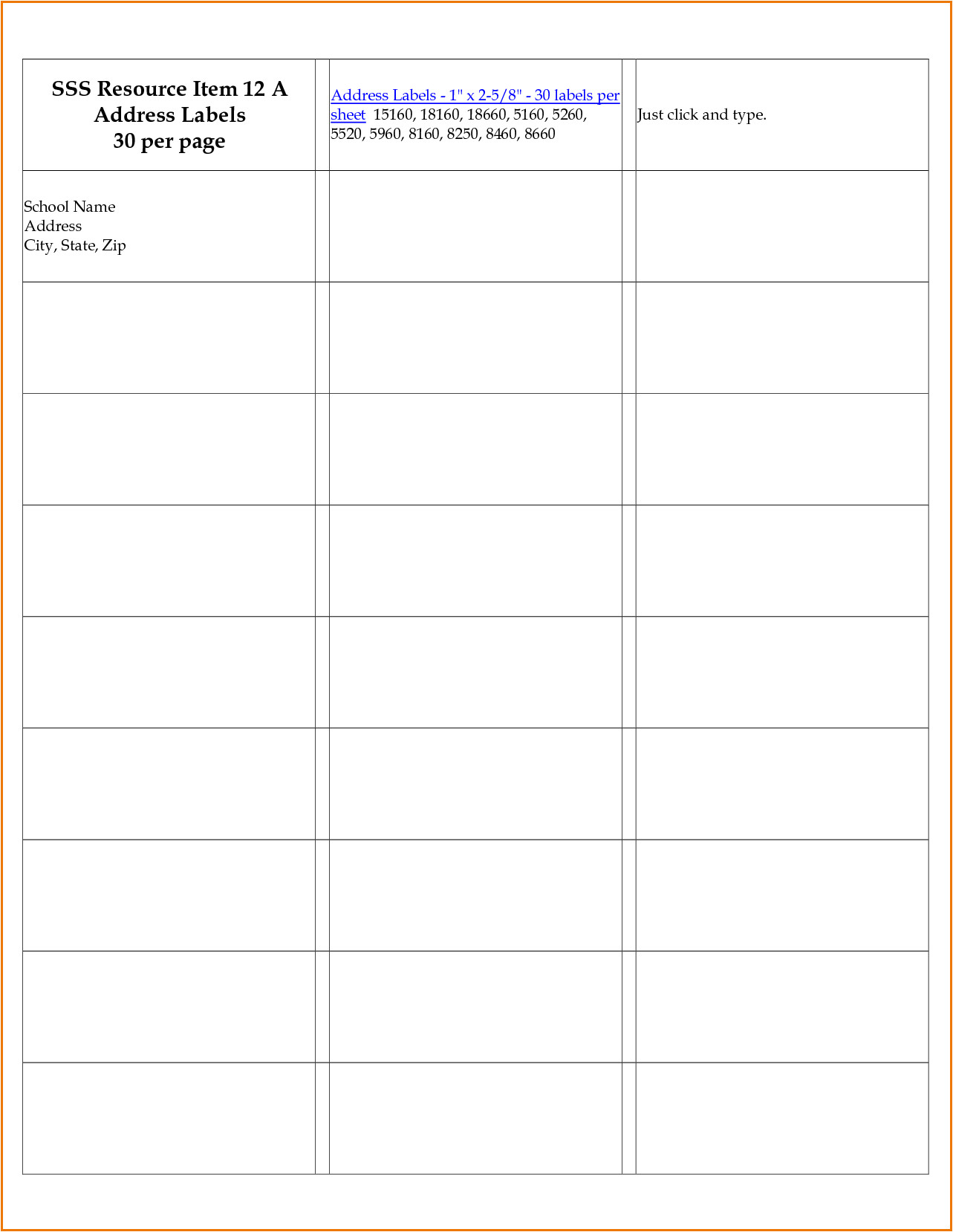 Avery Template 8660 for Microsoft Word Avery 8660 Template Divorce Document