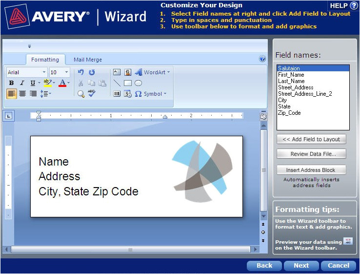 how to mail merge using avery wizard software for microsoft office