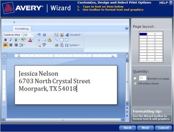 how to save a template in avery wizard software for microsoft office