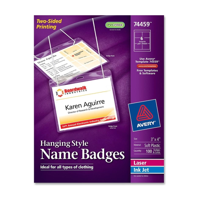 avery insertable name badge kit