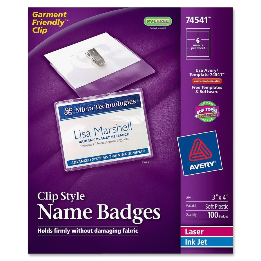 Avery Templates for Name Badges Avery Laser Inkjet Clip Style Name Tag Kit Ld Products
