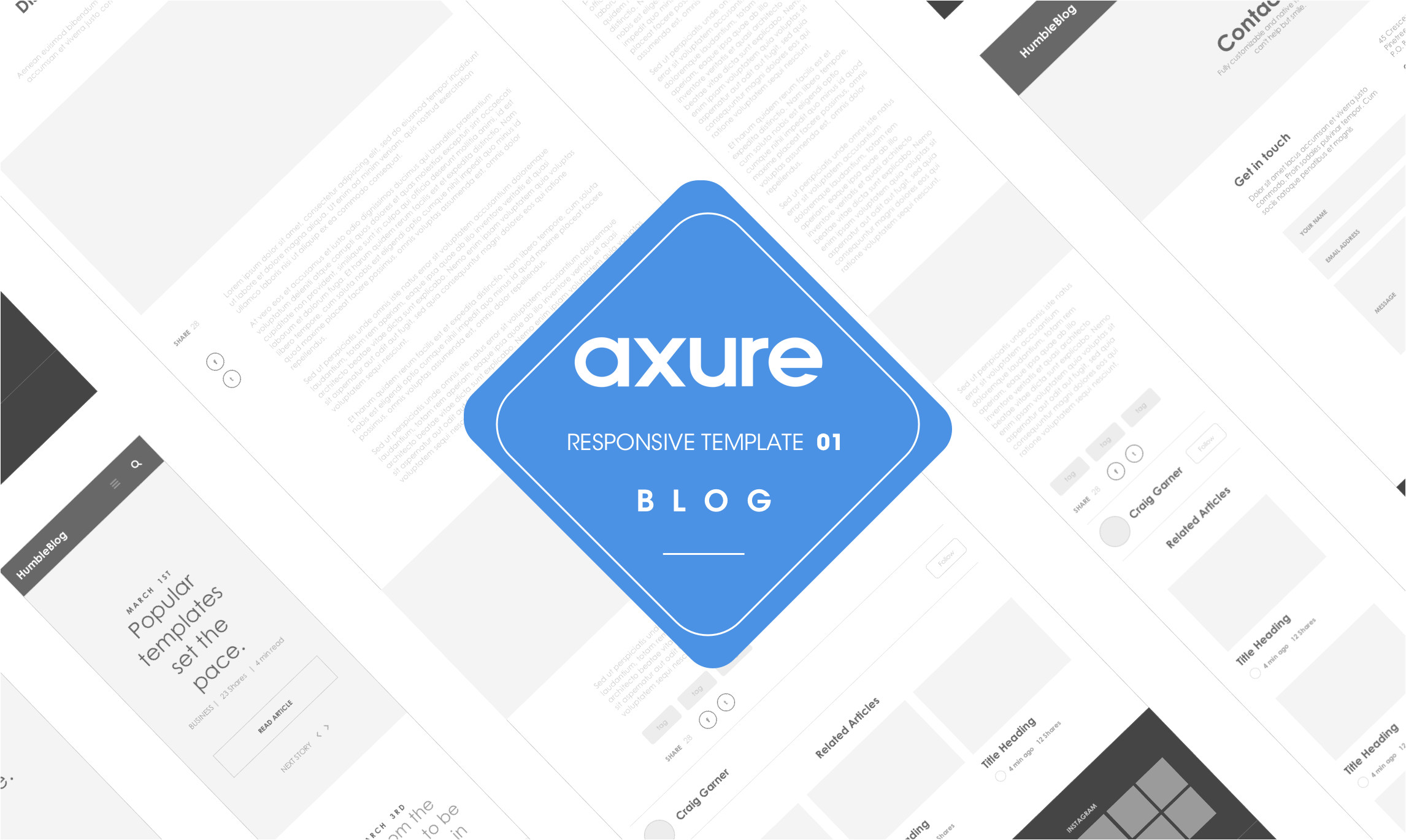 axure responsive template blog website 1