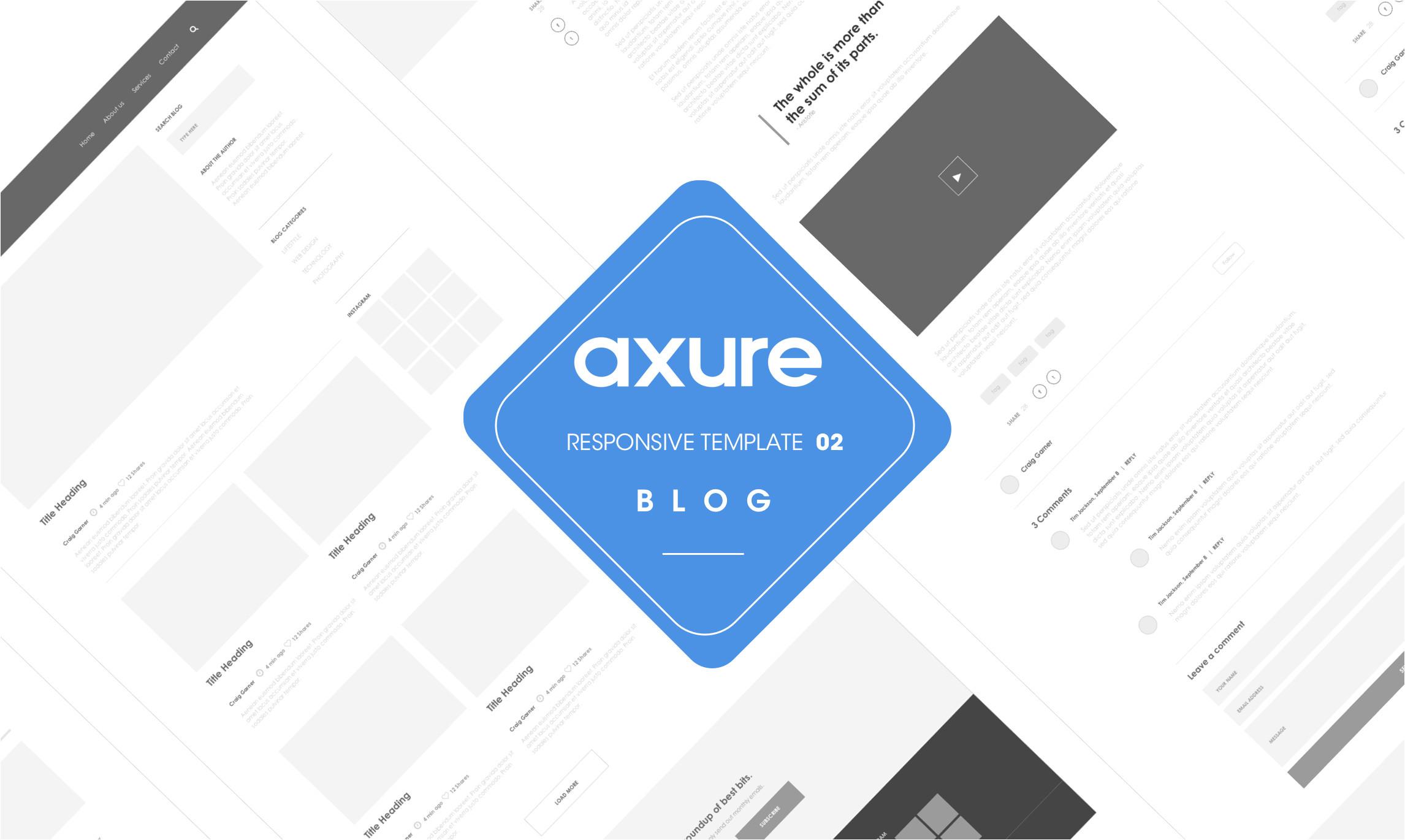 axure responsive template blog website 2