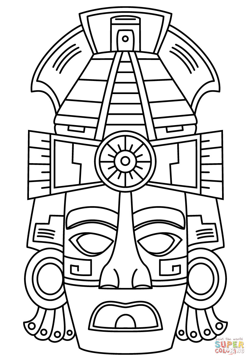 Aztec Mask Template Mayan Face Mask Coloring Page Free Printable Coloring Pages