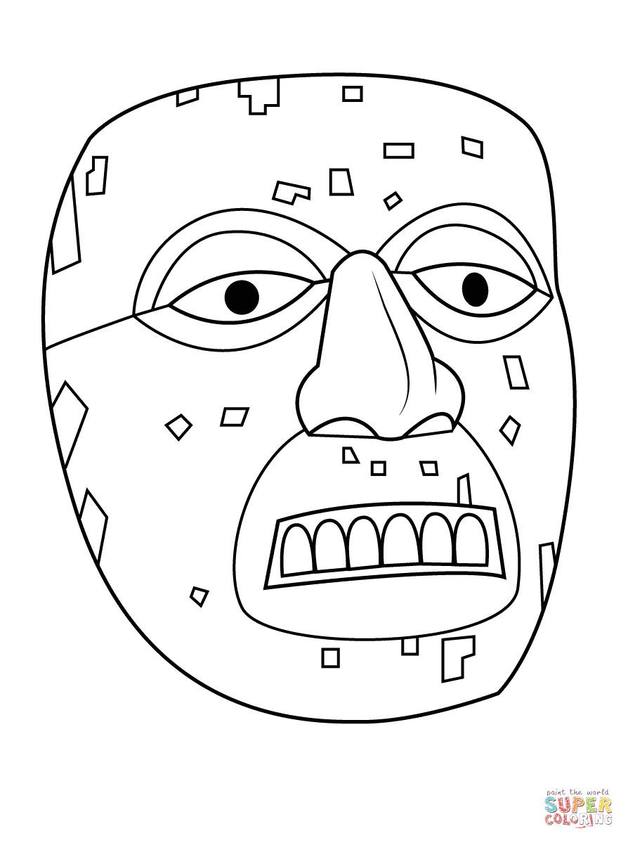 mayan mask sketch templates
