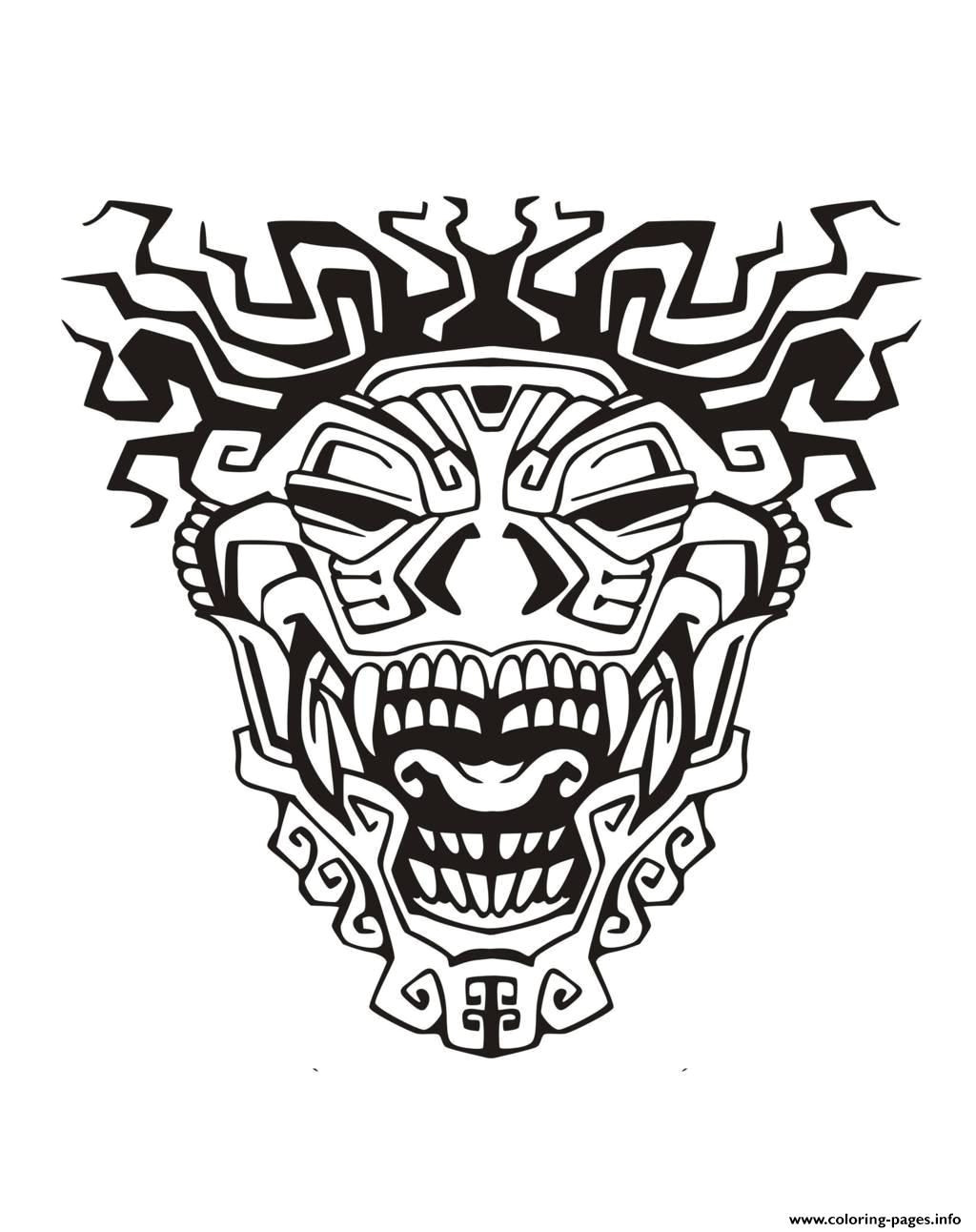 print adult mask inspiration inca mayan aztec 3 coloring pages