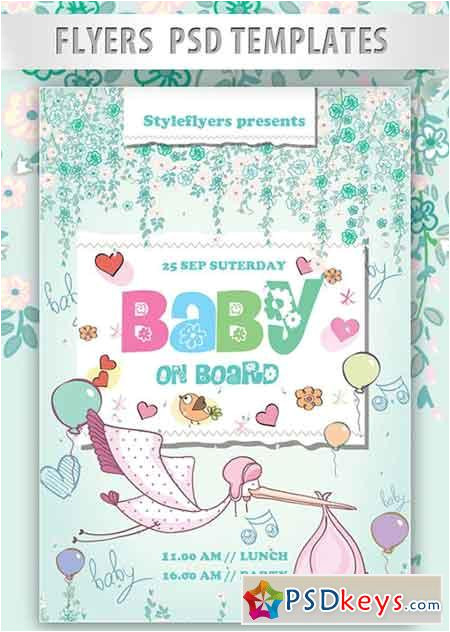 41987 baby on board flyer psd template facebook cover