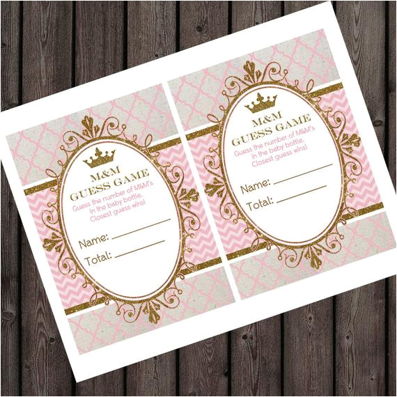 Baby Shower Game Booklet Template Baby Shower M M Game Candy Guess Game 5×7 Inch Two Per Page