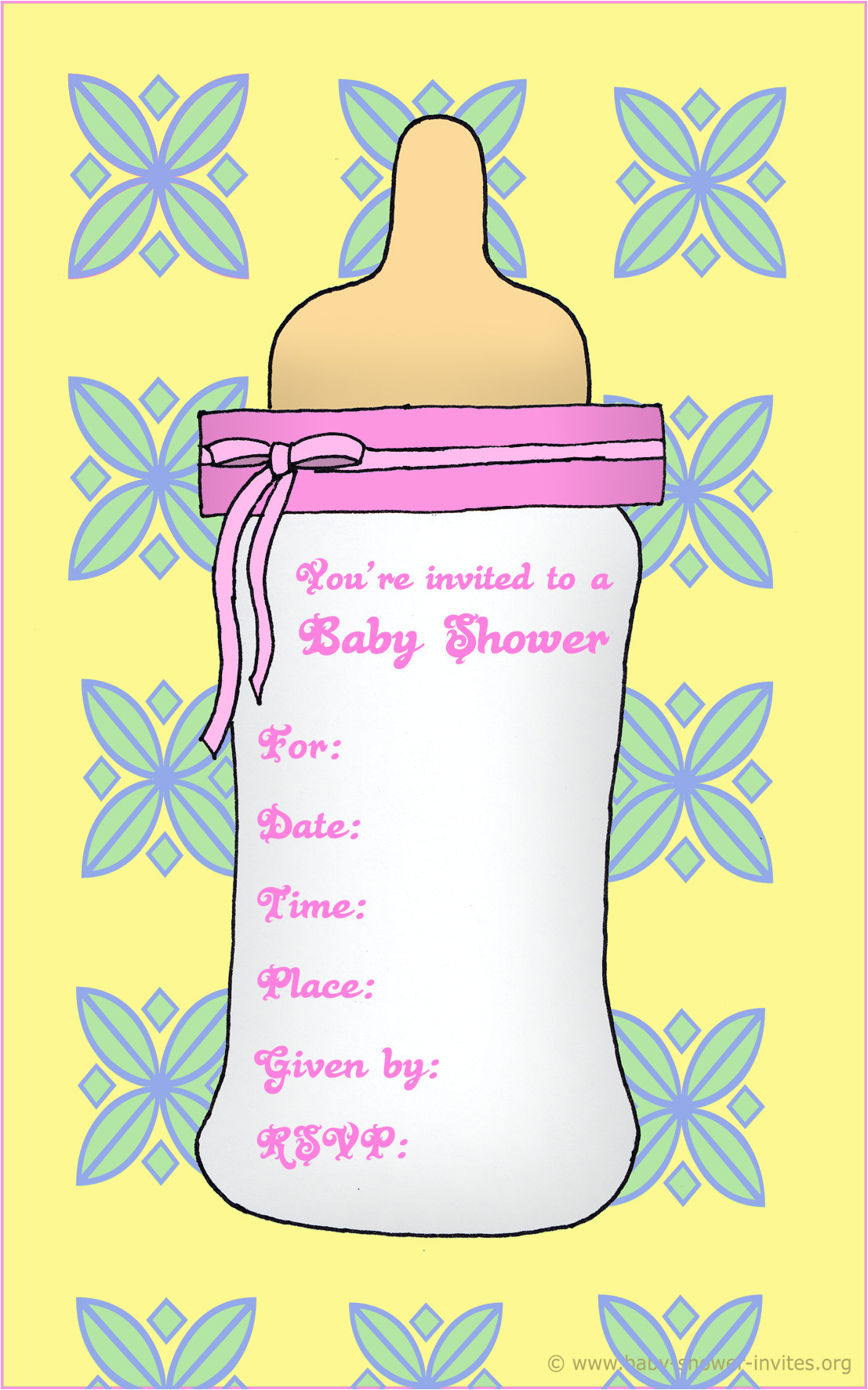 Baby Shower Invitations with Photo Template Free Printable Baby Bottle Baby Shower Invitation Template