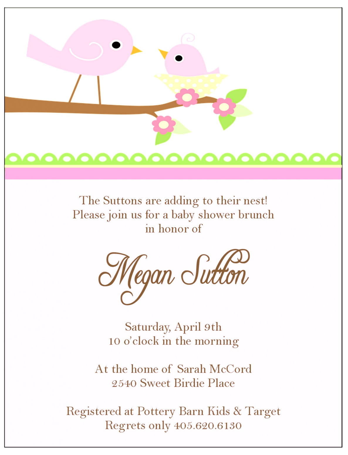 baby shower place cards template