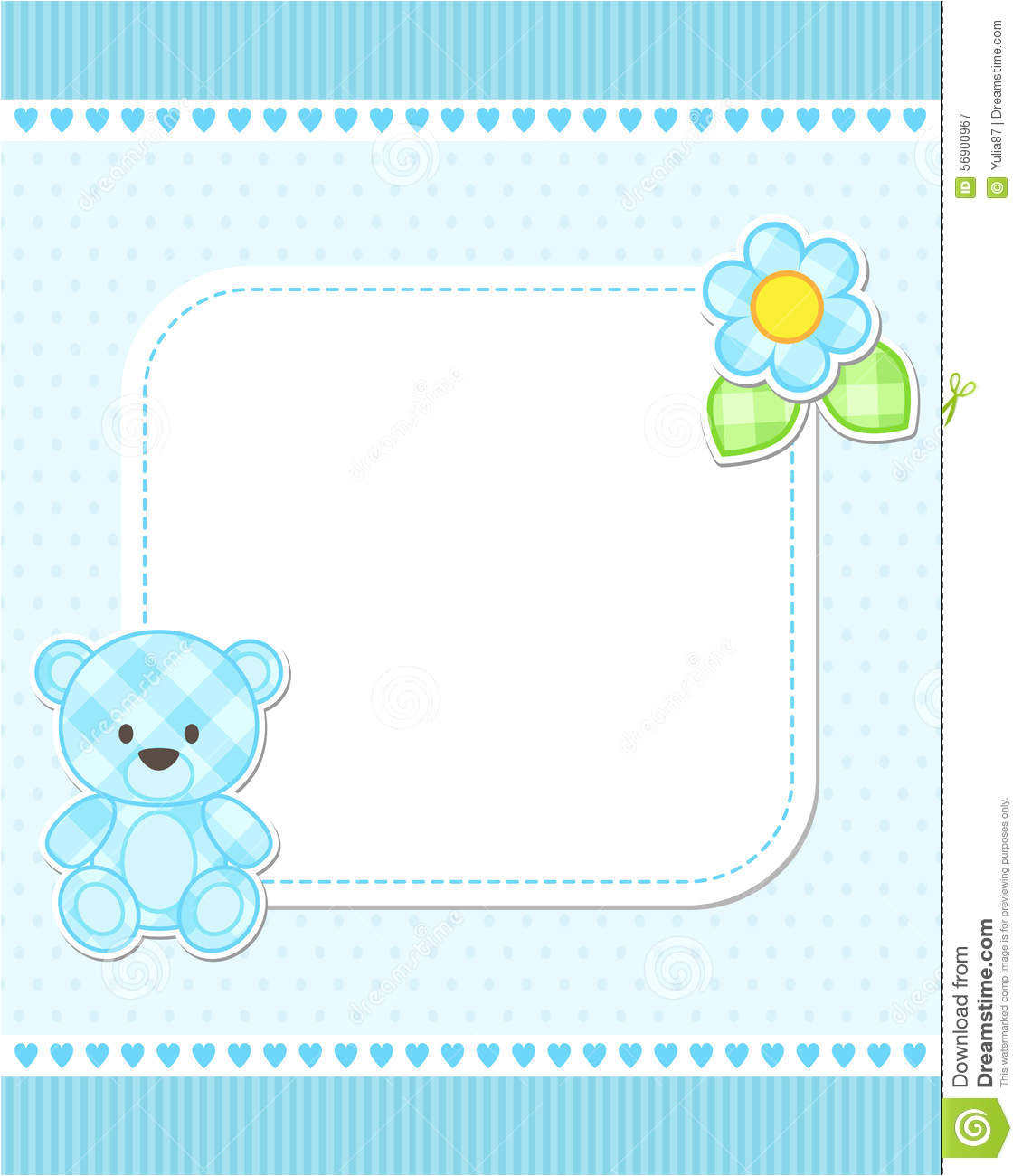 stock illustration blue teddy bear card illustration boy vector template place your text baby shower birth announcement image56900967