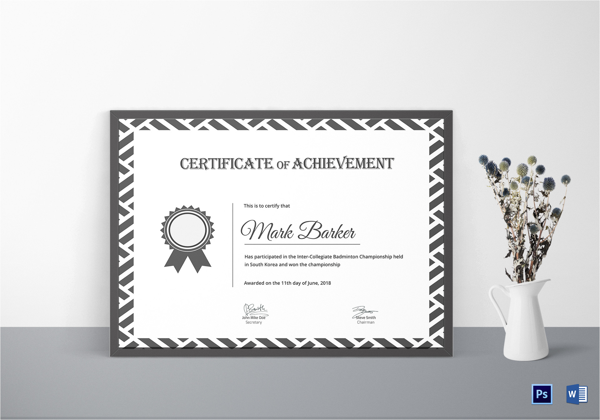 Badminton Certificate Template Badminton Achievement Certificate Design Template In Psd Word