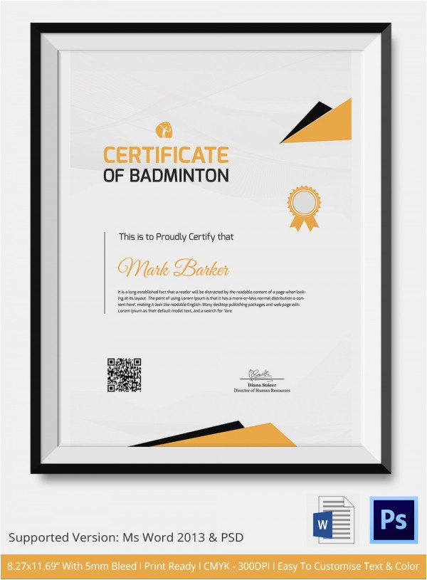 Badminton Certificate Template Badminton Certificate 5 Word Psd format Download
