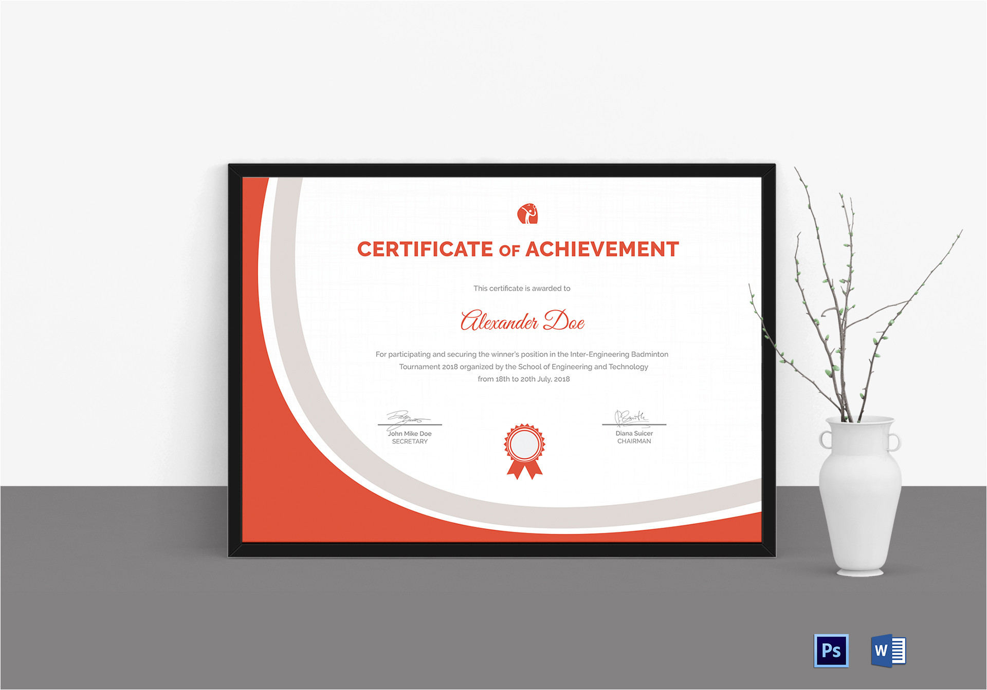 Badminton Certificate Template Badminton Certificate Design Template In Word Psd