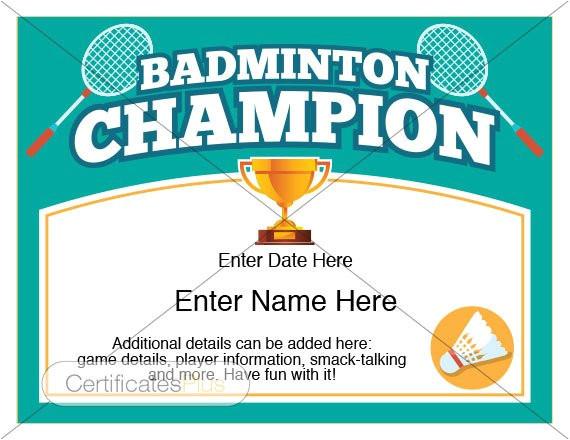 badminton certificate kid certificate