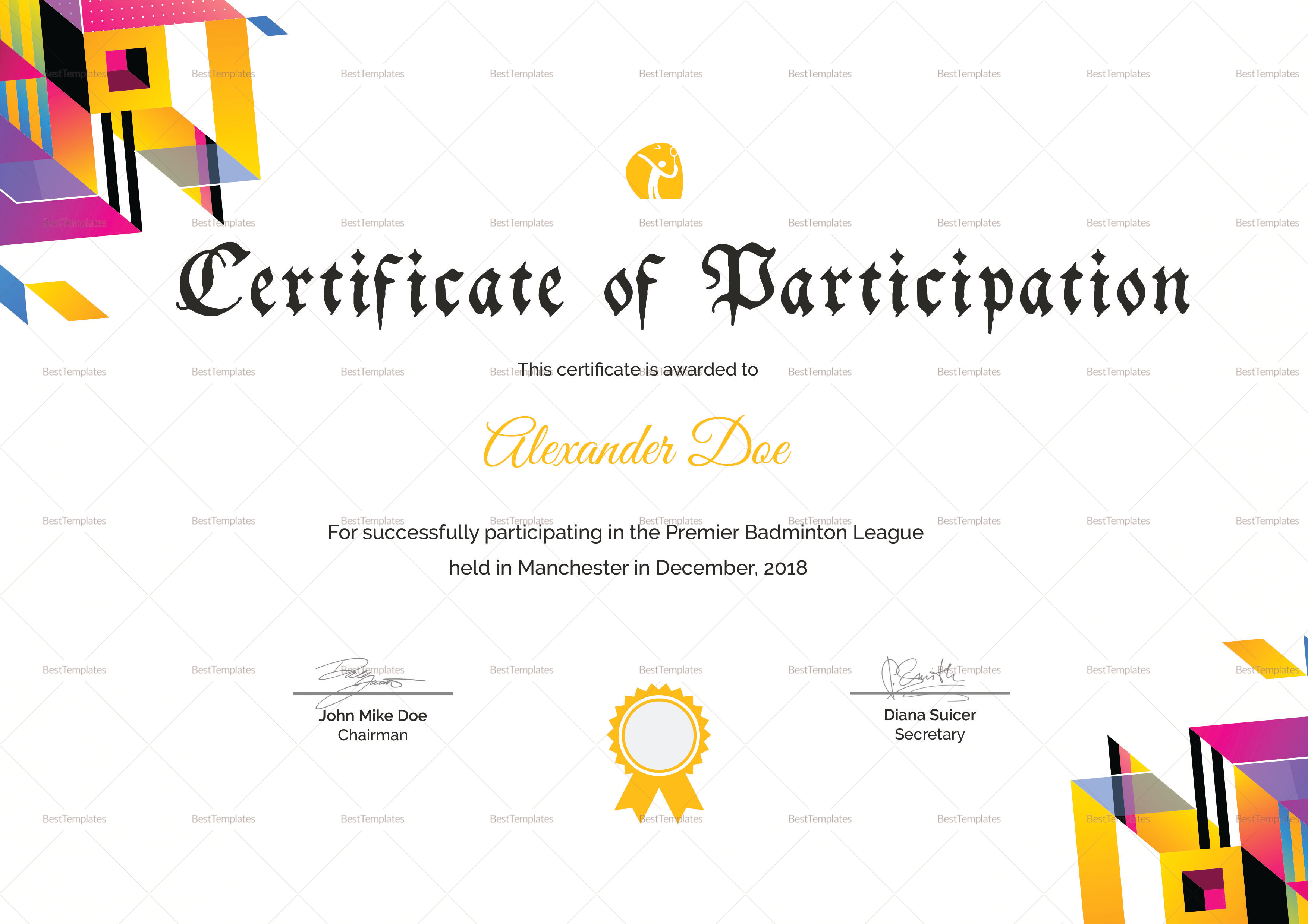 badminton participation certificate