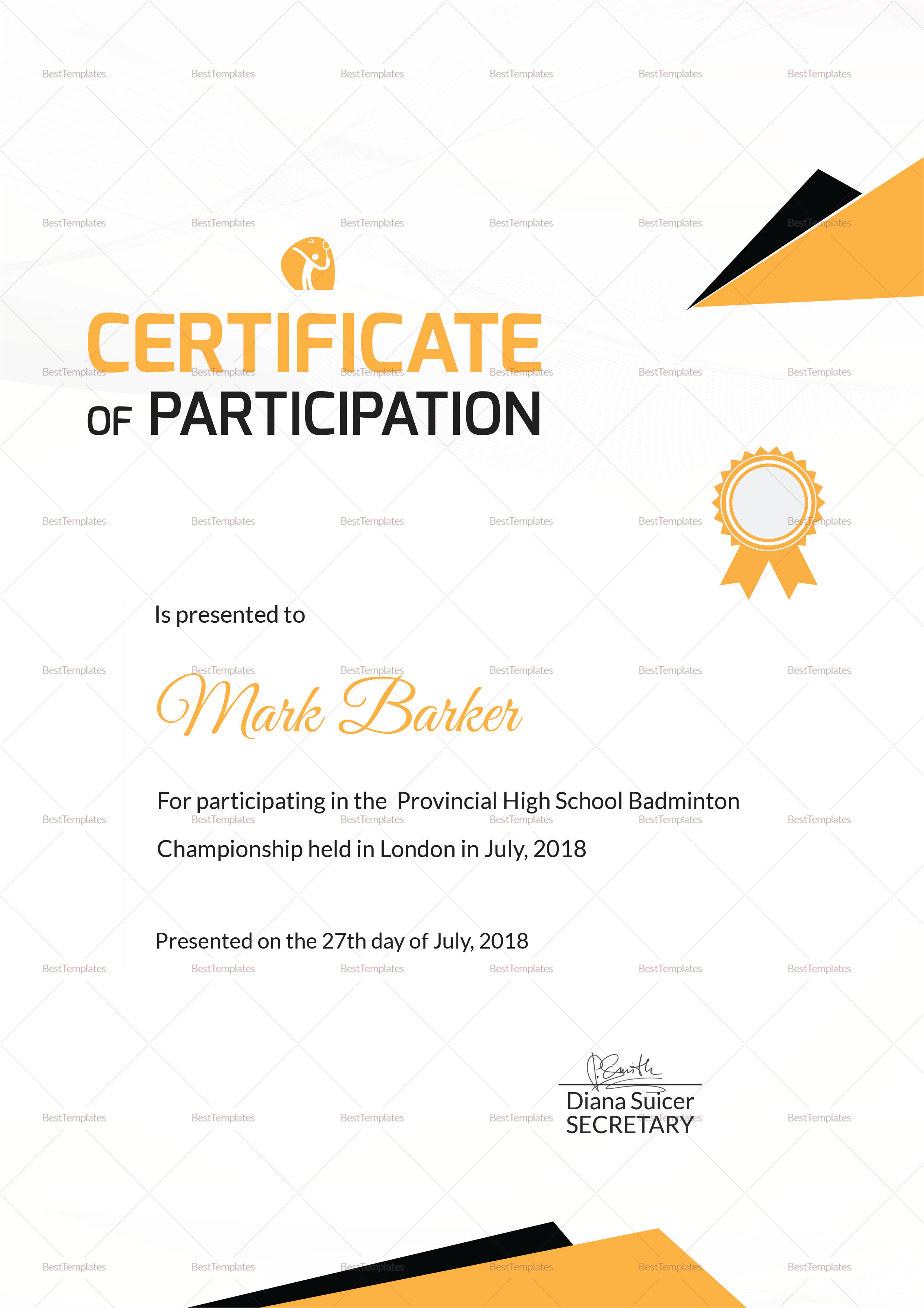 badminton sports certificate
